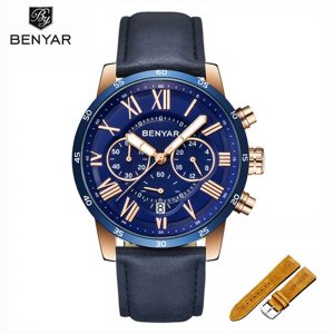 2019 New Watch Men BENYAR Men's Watch Top Brand Luxury Quartz Chronograph Gold Watch Waterproof Military Clock Men Zegarek Meski