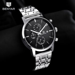 2019 New Watch Men BENYAR Top Brand Quartz Watch Fashion Chronograph Waterproof Business Clock Wristwatch Mens Relogio Masculino