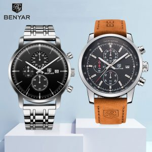 2019 Wristwatches BENYAR Watch Mens Set Quartz Chronograph Large Dial Top Brand Fashion Leather Male Watches Clock Reloj Hombre