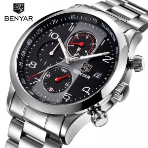 2020 BENYAR Black Quartz Watch Top Brand Luxury Men Watches Fashion Man Wristwatches Stainless Steel Relogio Masculino Saatler