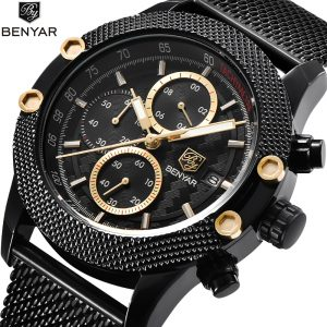 2020 Benyar Fashion Men Watch Waterproof Gold Point Casual Quartz Watches Men with Watches Date Black Wristwatch Zegarki Meskie