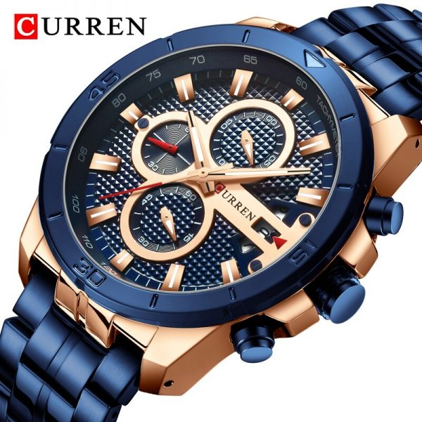 2020 CURREN Brand Luxury Men Watch Stainless Steel Business Chronograph Mens Watches Fashion Blue Sport Wristwatch Analog Quartz