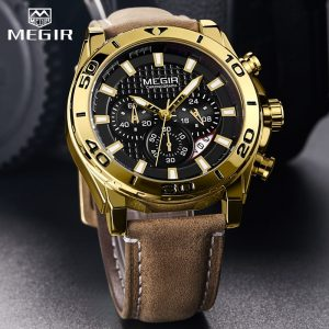 2020 MEGIR Chronograph Mens Watches Top Brand Luxury Golden Men's Quartz Watch Leather Waterproof Military Sport Watch Men Reloj