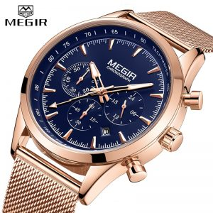 2020 MEGIR New Mens Watches Business Stainless Steel Strap Waterproof Quartz Watch Men Chronograph Luxury Sport Male Wristwatch