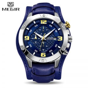 2020 MEGIR New Mens Watches Leather Bracer Big Dial Chronograph Man Military Quartz Watch Men Waterproof Date Sport Wristwatches