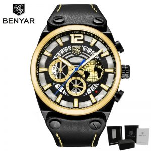 2020 NEW BENYAR Casual Fashion Chronograph Men's Watch Top Brand Luxury Leather Quartz Military Watch Clock Relogio Masculino