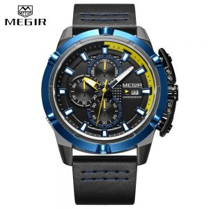 2020 New Fashion Style Top Brand MEGIR Men Watches Male Quartz Wristwatches Luxury Leather Watch Military Analog Quartz-Watch