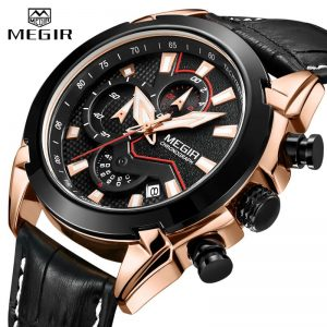 2020 New MEGIR Men's Fashion Sports Quartz Watch Men Leather with Chronograph Mens Watches Military Waterproof Sport Wrist Watch