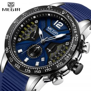 2020 New MEGIR Watch Men Luxury Brand Silicone Sport Chronograph Quartz Clock Mens Watches Waterproof Date Military Wrist Watch