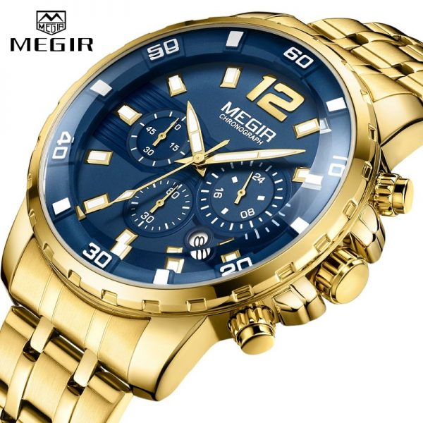 2020 New Men Watch MEGIR Luxury Gold Business Chronograph Sport Mens Watches Full Steel Military Quartz Wristwatches Clock Men
