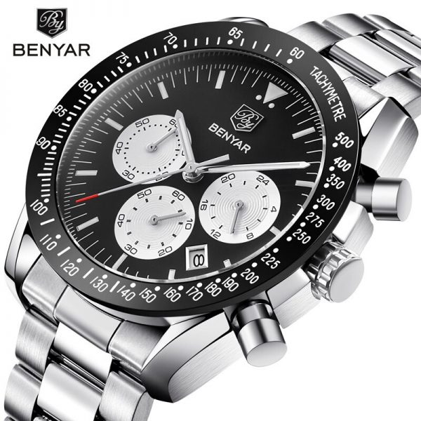 2020 New Watches Men Luxury Brand BENYAR Chronograph Commerce Watches Waterproof Full Steel Quartz Men's Watch Relogio Masculio
