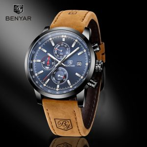 BENYAR Casual Sport Watches for Men Blue Top Brand Luxury Military Leather Wrist Watch Man Clock Fashion Chronograph Wristwatch