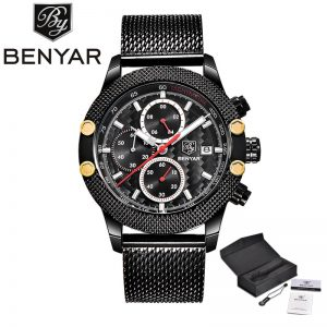 BENYAR Fashion Chronograph Mens Watches Top Brand Luxury Military Stainless Steel Strap Quartz Sports Watch Relogio Masculino