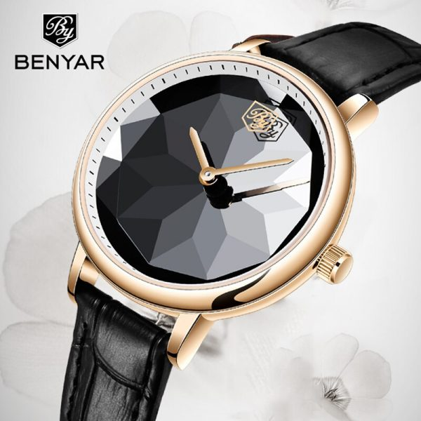 BENYAR Ladies Wrist Watches Luxury Gold Watch Women Waterproof Top Brand Bracelet Leather Silver Clock Clock Relogio Feminino