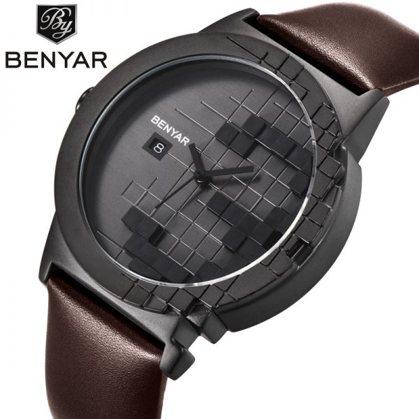 BENYAR Luxury Brand Watches Men Quartz Analog 3D Face Leather Clock Mens Sports Watches Military Army Watch Relogio Masculino