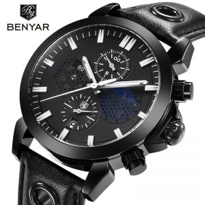 BENYAR Luxury Chronograph Sport Mens Watches Fashion Brand Military Waterproof Leather Quartz male wristWatch Relogio Masculino
