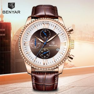 BENYAR Men's Watches 2019 New Luxury Watch Men Leather Chronograph Waterproof Sports Fashion Casual Gold Watch Montre Homme