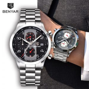 BENYAR Men's Watches 2019 Top Brand Luxury Business Watch Chronograph Quartz Watches Men Stainless Steel Watch Relogio Masculino