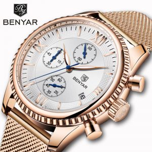 BENYAR Men's Watches Fashion 2019 Top Brand Luxury Quartz Sport Chronograph Military Golden Clock Montre Homme Relogio Masculino