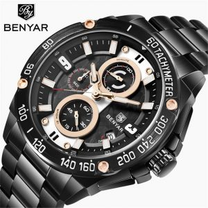 BENYAR Men's Watches Gold Watch Men Quartz Watch Military Wriswatch Mens Top Brand Luxury Chronograph Clock Relogio Masculino
