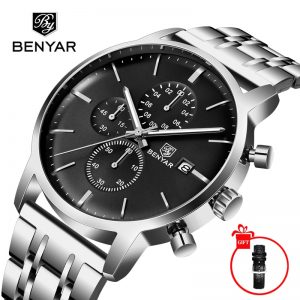 BENYAR Men's Watches New 2019 Top Brand Luxury Business Quartz Watch Chronograph Men Sports Watches Man Clock  Relogio Masculino
