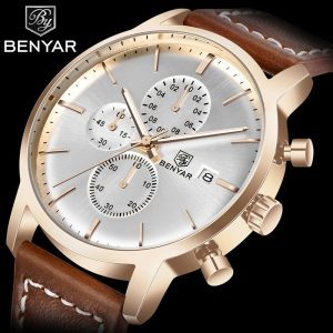 BENYAR Men's Watches Top Brand Fashion Gold/Chronograph/30M Waterproof Quartz Watches Men Leather Wristwatch Mens Reloj Hombre