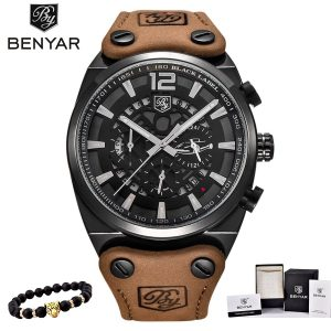 BENYAR Men's Watches Top Brand Luxury Quartz Chronograph Watch Fashion Casual Business Watch Male Wristwatches Watch Relogio New