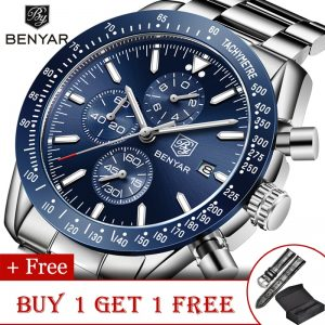 BENYAR Men's Watches Top Brand Luxury Watch Men 2020 Military Watch Quartz Chronograph Business Watch Strap Relogio Masculino