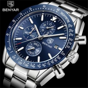 BENYAR Mens Watch Business Full Steel Quartz Watch Men Top Brand Luxury Casual Waterproof Sports Watches Clock Relogio Masculino