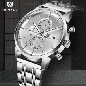BENYAR Mens Watches Top Brand Luxury Quartz Chronograph Fashion Stainless Steel Waterproof Men Clock Military Relogio Masculino