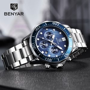BENYAR Mens Watches Top Brand Luxury Quartz Men Watch 2020 Sport Watch For Men Chronograph Military Watch Men Relogio Masculino