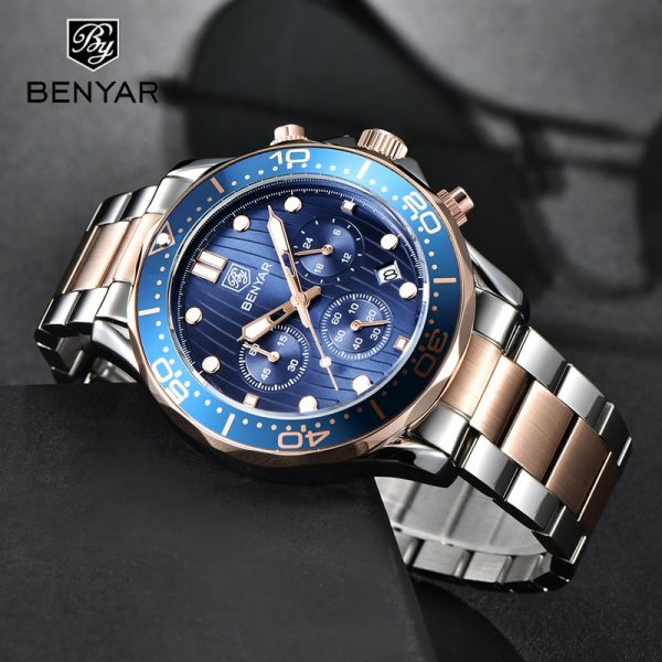 BENYAR Mens Watches Top Brand Luxury Quartz Watch Men 2020 Waterproof Sport Watch For Men Chronograph Military Relogio Masculino