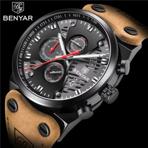 BENYAR New 30M Waterproof Outdoor Hollow Sports Chronograph Watch Skeleton Calendar Men's Quartz Wrist Watches Relogio Masculino