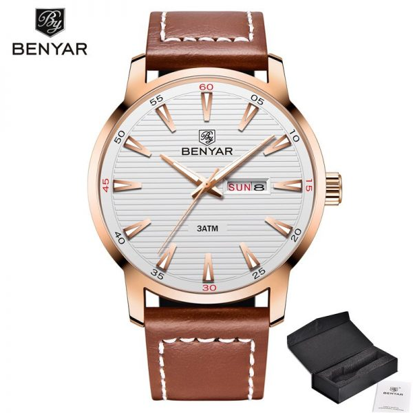 BENYAR New Business Men's Watches Analog Quartz Wrist Watches 30M Waterproof Sports Date Gold Leather Band Watches Montre Homme