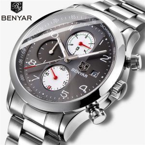 BENYAR New Business Men's Watches Chronograph Men Sports Watches Waterproof Full Steel Male Quartz Wrist Watch Relogio Masculino