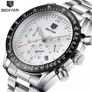 BENYAR New Casual Fashion Chronograph Stainless Steel Watches Men high Quality business Quartz Male Wristwatch Relogio Masculino