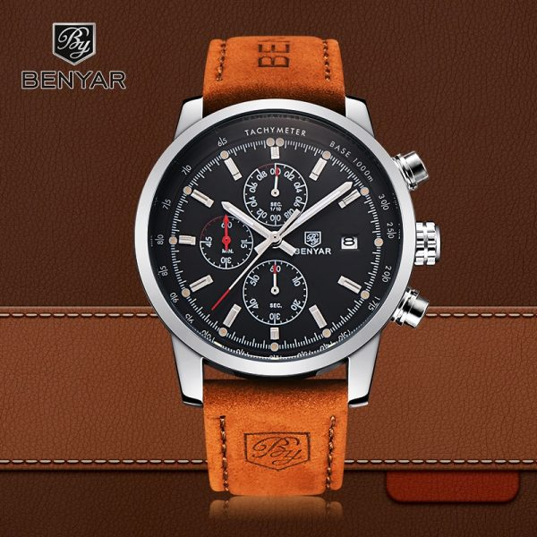 BENYAR Sport Men Watch Top Brand Luxury Men Leather Waterproof Chronograph Quartz Wrist Watch Male Military Clock