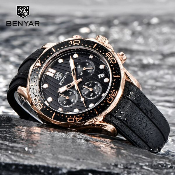 BENYAR Watch For Men Quartz Watches Mens 2020 Top Brand Luxury Chronograph Military Gold Watch Men Sport Clock relogio masculino