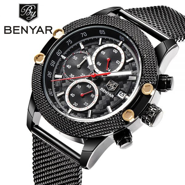 BENYAR Watches Men Top Luxury Quartz-Watches Sport Men's Steel Watches Waterproof Relogio Heren Hodinky