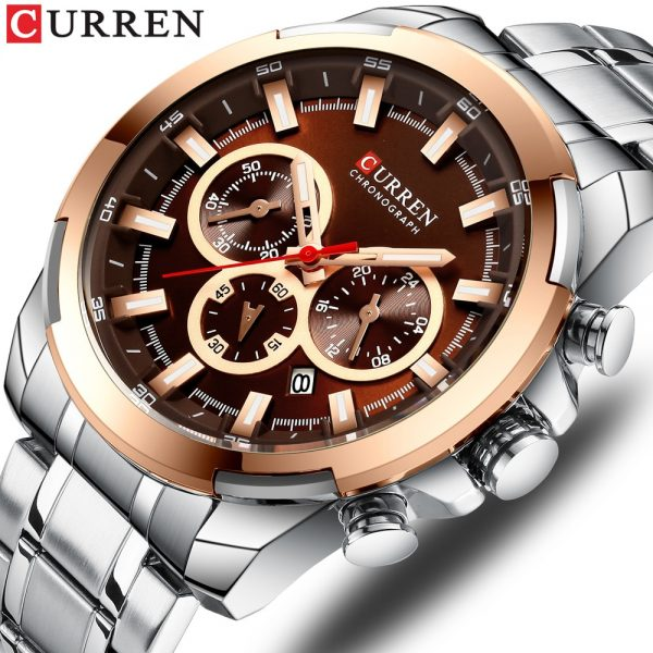 CURREN Brand Watches Stainless Steel Men Sport Quartz Wrist Watch Men Business Chronograph Fashion Military Waterproof Watch