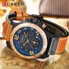 CURREN Fashion Casual Mens Watches Waterproof Military Sports Watch Men Leather Quartz Watches For Male Clock Relogio Masculino