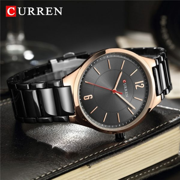 CURREN Fashion Men Watch Casual Waterproof Slim Quartz Watches Men Classic Business Black Steel Wristwatch Luxury Zegarki Meskie