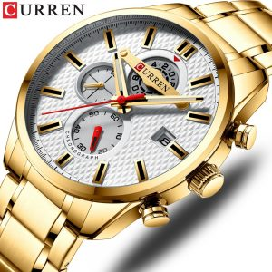 CURREN Fashion New Mens Watches Sport Quartz Gold Watch Top Brand Luxury Men Chronograph Luminous Military Waterproof Watch