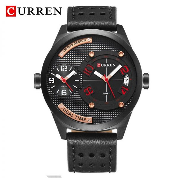 CURREN Fashion Sport Men Watch Chronograph Waterproof Leather Strap Quartz Watches Men's Army Military Wrist Watch Male Clock