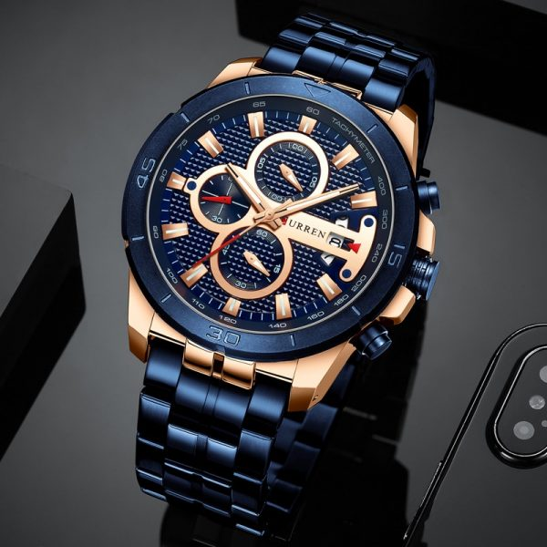 CURREN Men Sport Quartz Watch Fashion Blue Stainless Steel Business Men's Watches Top Brand Waterproof Chronograph Male Clock