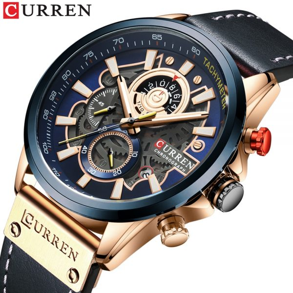 CURREN Mens Watches Fashion Leather Sport Quartz Watch Men Top Brand Luxury Waterproof Military Chronograph Relogio Masculino