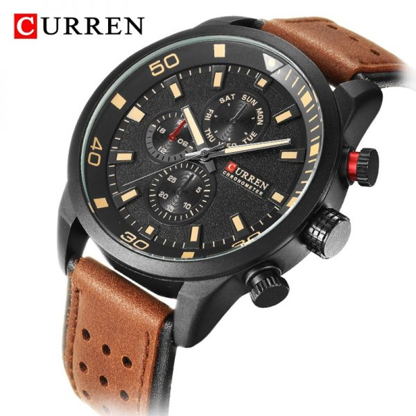 CURREN Mens Watches Top Brand Luxury Chronograph Waterproof Quartz Watch Men Military Leather Sports Watches Man Clock Analog