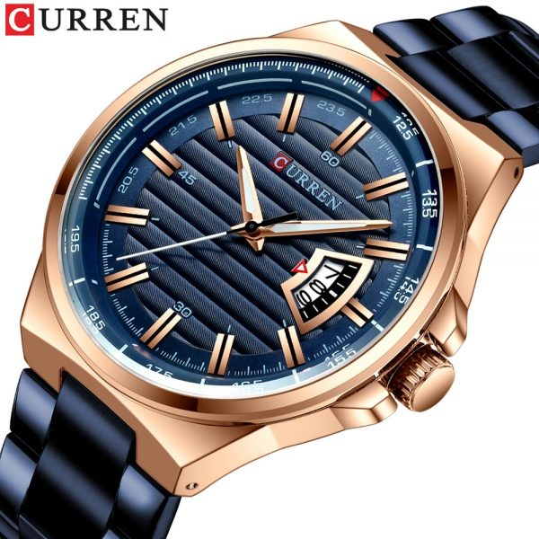 CURREN Top Luxury Brand Full Steel Watch Men Business Waterproof Quartz Blue Wristwatch Men's Analog Sport Watches Male Clock