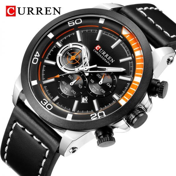 CURREN Watch Men Top Brand Chronograph Mens Watches with Leather Military Sport Waterproof Wrist Watch Male Clock Analog Quartz