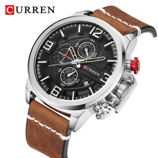 CURREN Watch Men Top Brand Luxury Leather Strap Men's Wrist Watches Sport Watches for Mens Quartz Chronograph Men Waterproof